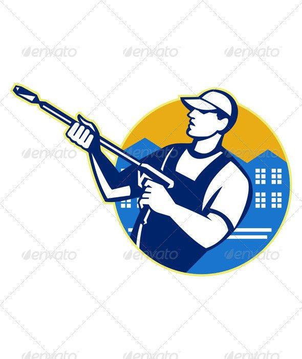 Power Washing Pressure Water Blaster Worker by patrimonio ...