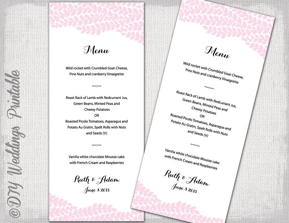 Wedding menu template Pink Vine wedding menu DIY