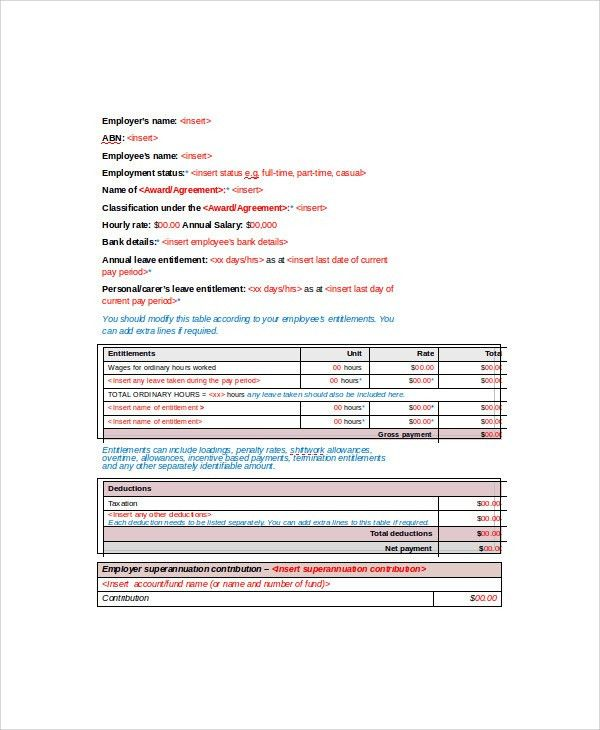 Sample Wage Slip Template - 8+ Free Documents Download in Word, PDF