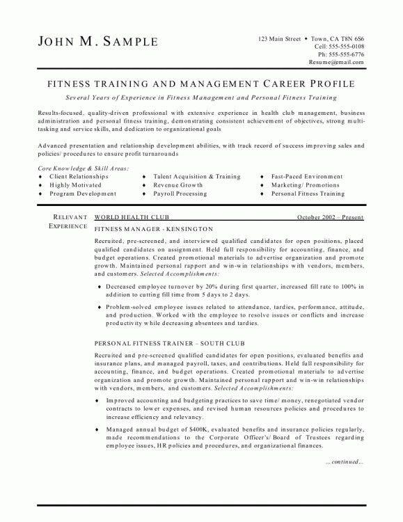 Personal Trainer Resume Template. Elite Personal Trainer Resume ...