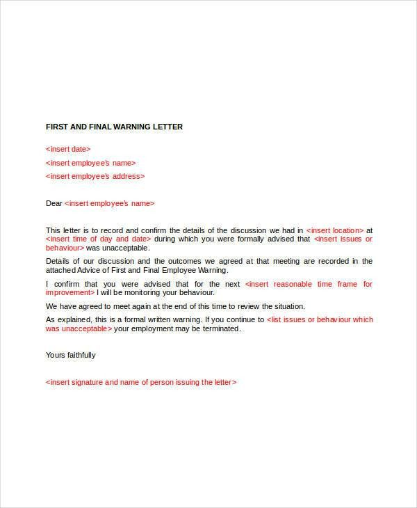 Employee Warning Letter Template - 6+ Free Word, PDF Format ...