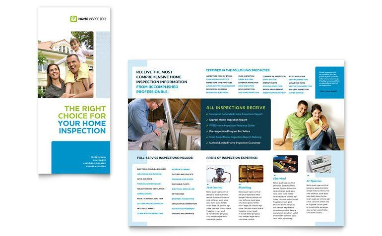 Home Inspection & Inspector Tri Fold Brochure Template - Word ...