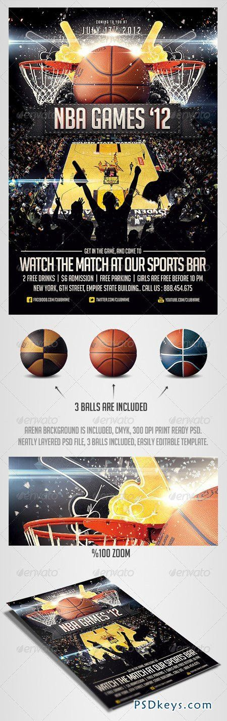 BasketBall Sports Flyer Template 2561828 » Free Download Photoshop ...