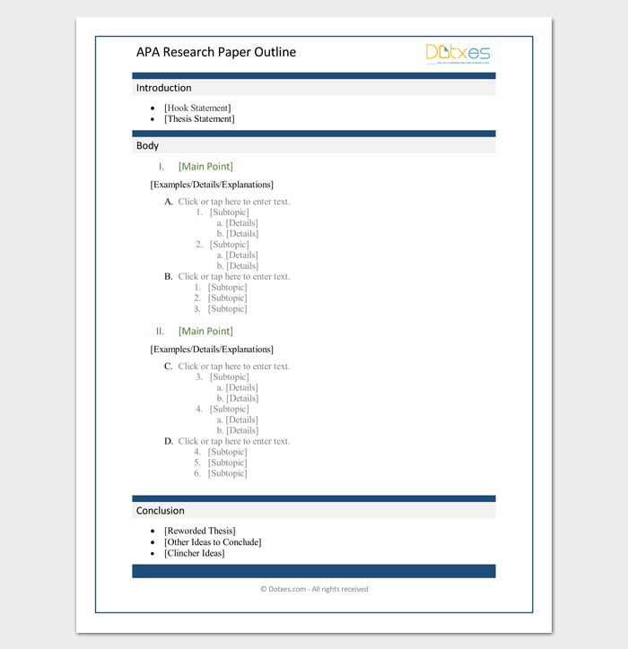 Research Paper Outline APA Format - 7+ Examples and Samples