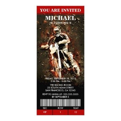 Motocross Invitation | Dirt Bike Birthday Ticket | Zazzle.com