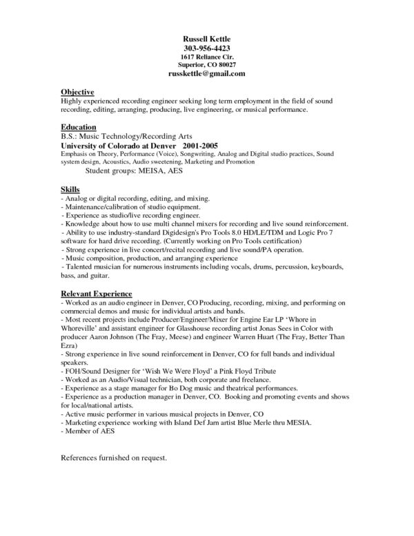 Awesome Audio Engineer Resume Template Sample with Objective and ...