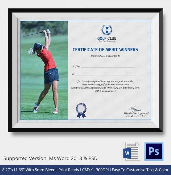 Golf Certificate Template - 5+ Word, PSD Format Download | Free ...