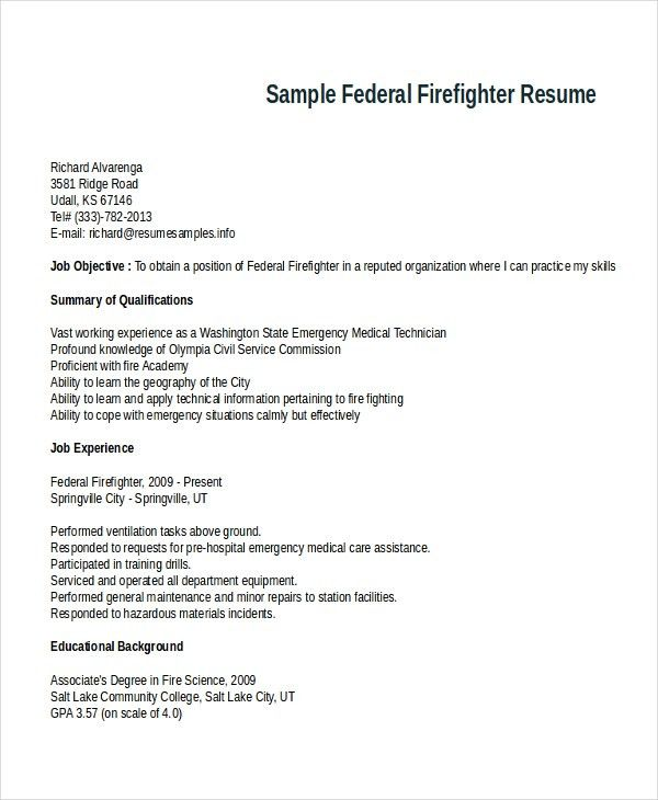 Firefighter Resume Template   7+ Free Word, PDF Document Download .