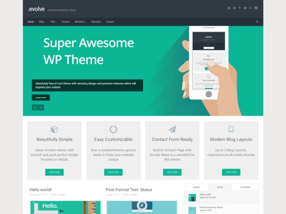 evolve — Free WordPress Themes