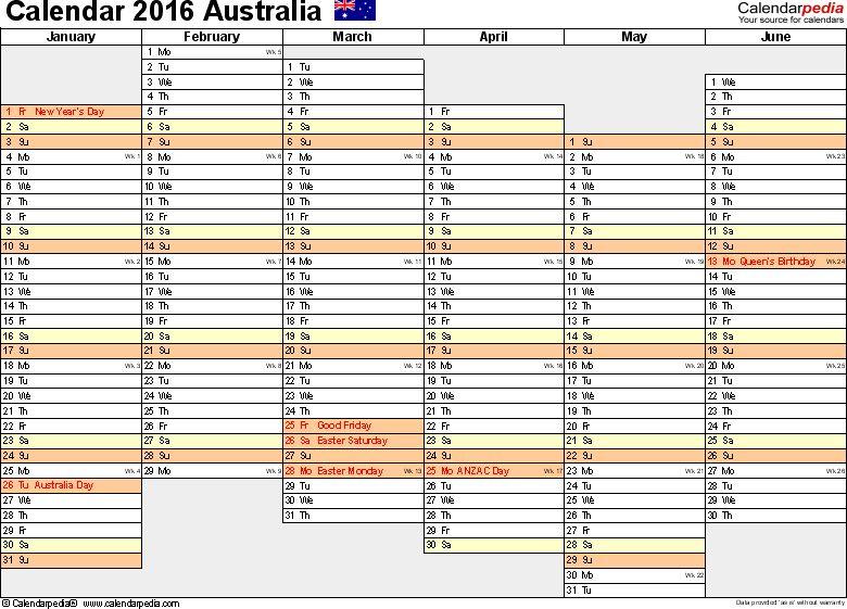 Australia Calendar 2016 - free printable Excel templates