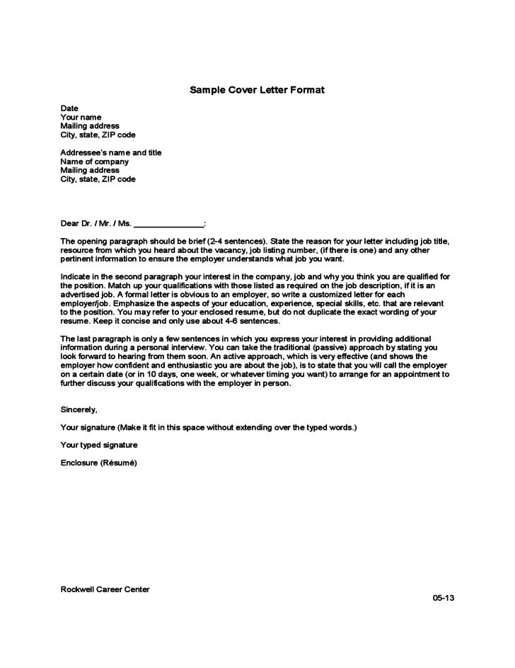 Cover Letter Format Template Free Download