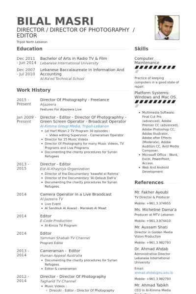 director of photography resume samples visualcv resume samples - Photography Resume Samples