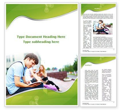 Student Reading a Book Word Template 09242 | PoweredTemplate.com