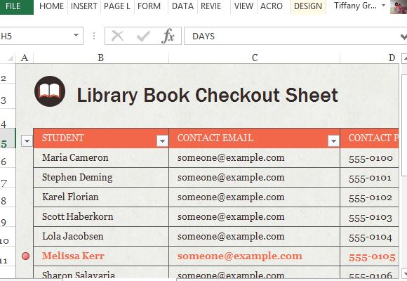 Library Book Check Out Sheet For Excel