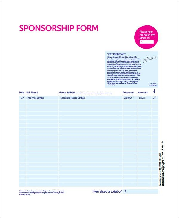 Sample Sponsorship Form   9+ Documents In Word, PDF  Printable Sponsor Forms