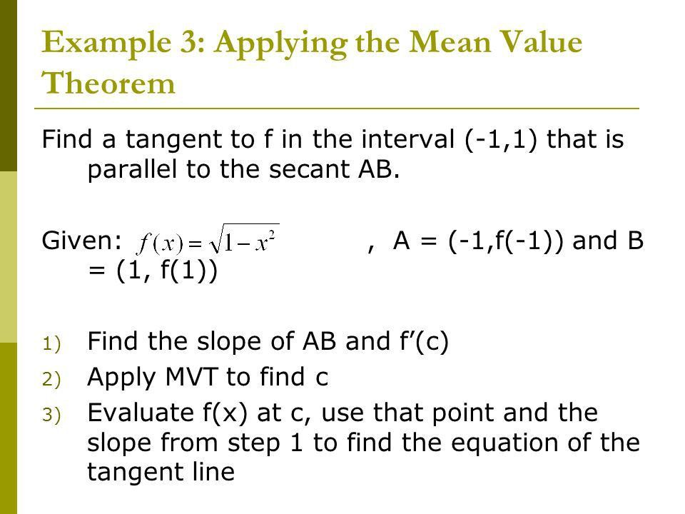 Chapter 4: Applications of Derivatives Section 4.2: Mean Value ...