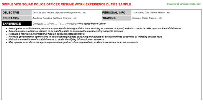 Vice Squad Police Officer Resume Sample