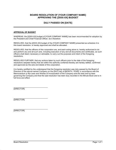 Board Resolution - Template & Sample Form | Biztree.com