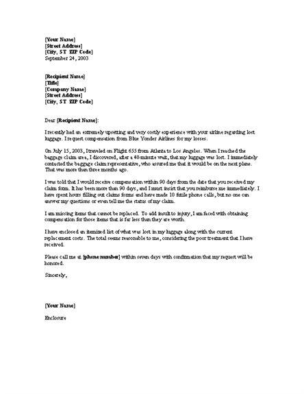 Complaint letter requesting reimbursement for lost luggage ...