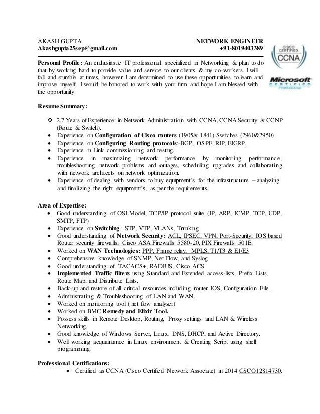 Akash Gupta Network Engineer CV