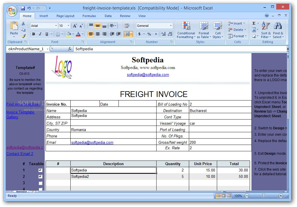 Freight Invoice Template Download