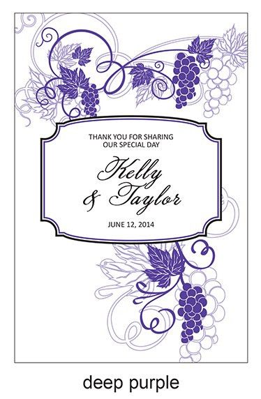 Grapes Frame Personalized Wine Label - 8 pcs - Wine Wedding Labels ...