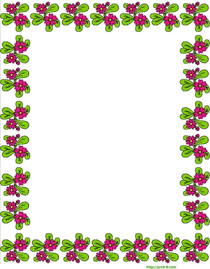 free printable spring cute red flowers border writing paper ...