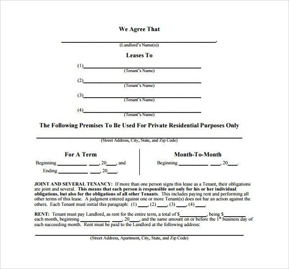 Sample Month To Month Lease Agreement   8+Free Documents In Word, PDF