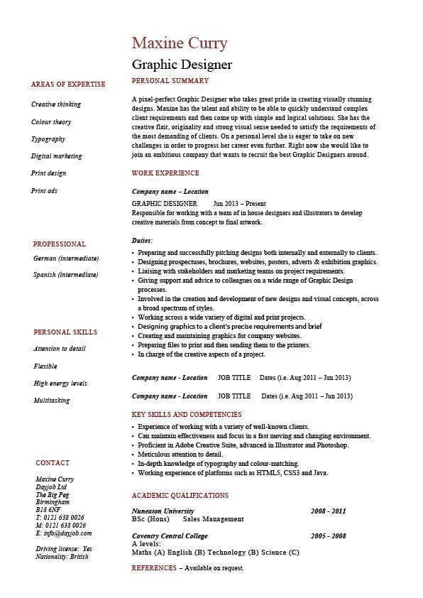 Graphic designer resume 1, example, Job description, designing ...