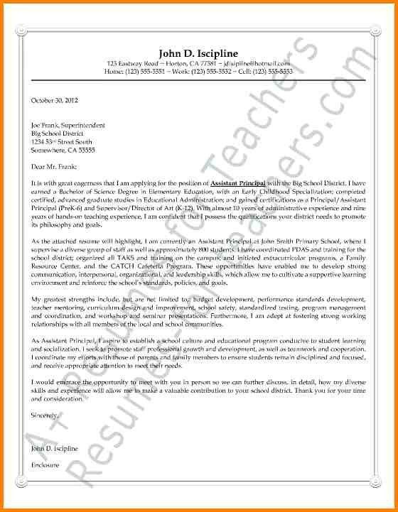 elementary principal cover letter sample. how to write an ...