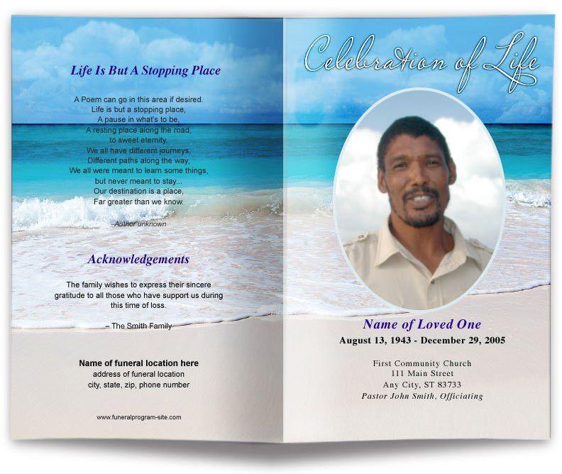 Carribean Beach Scene Funeral Program Template | Memorial Service ...