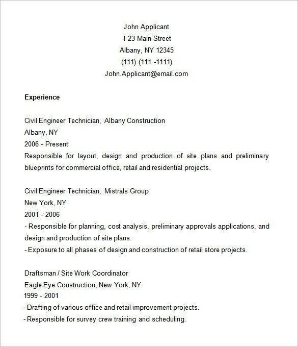 Construction Resume Template – 9+ Free Samples, Examples, Format ...