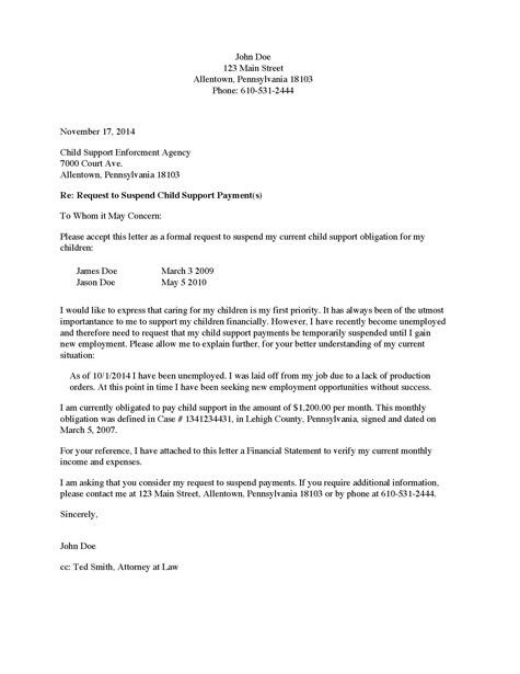 Divorce Source - Child Support Suspension Request Letter - Payor