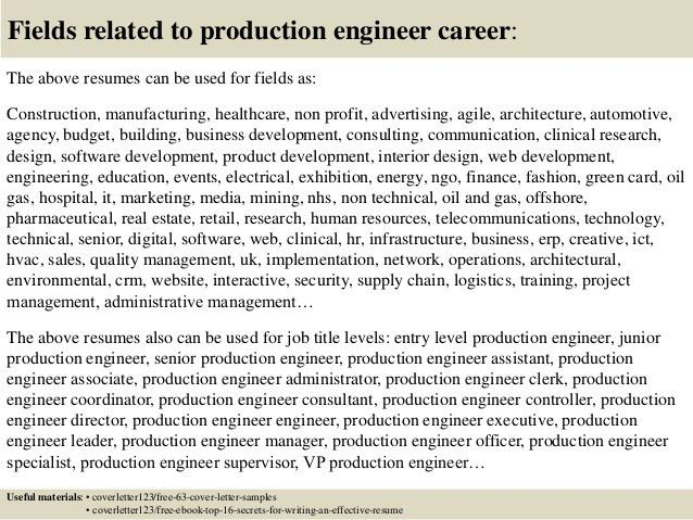 production engineer cover letter production engineer cover letter