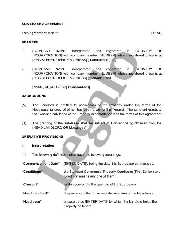 Sub-lease Agreement Template - Legalo