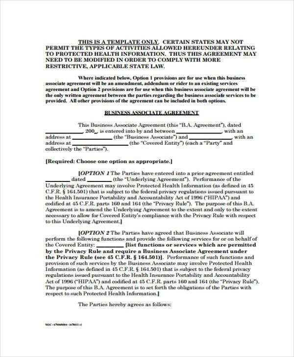 Business Associate Agreement Template. 2 Can Sample Business ...