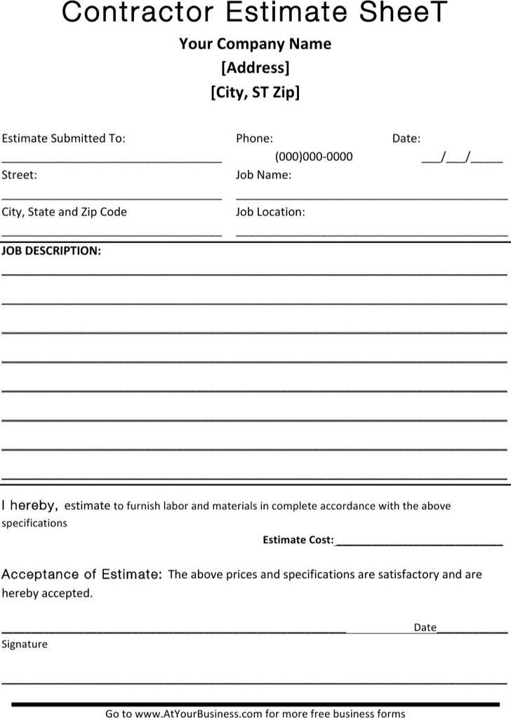 download free estimate forms
