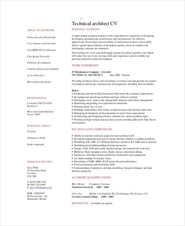 Architect Resume Template - 5+ Free Word, PDF Documents Download ...
