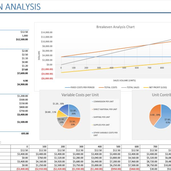 Breakeven Analysis With Charts - Business Insights Group AG