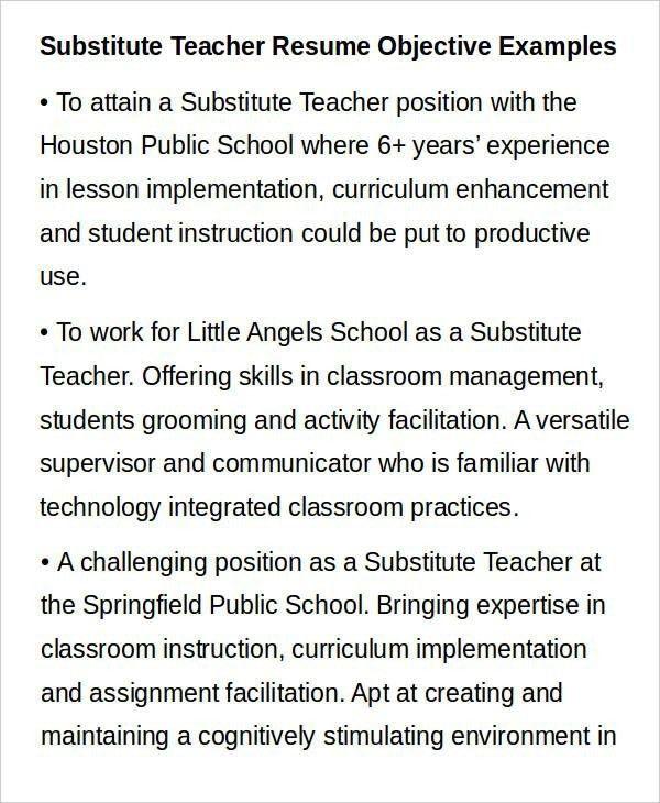 Substitute Teacher Resume Example. Teacher Resume Sample Free Word ...