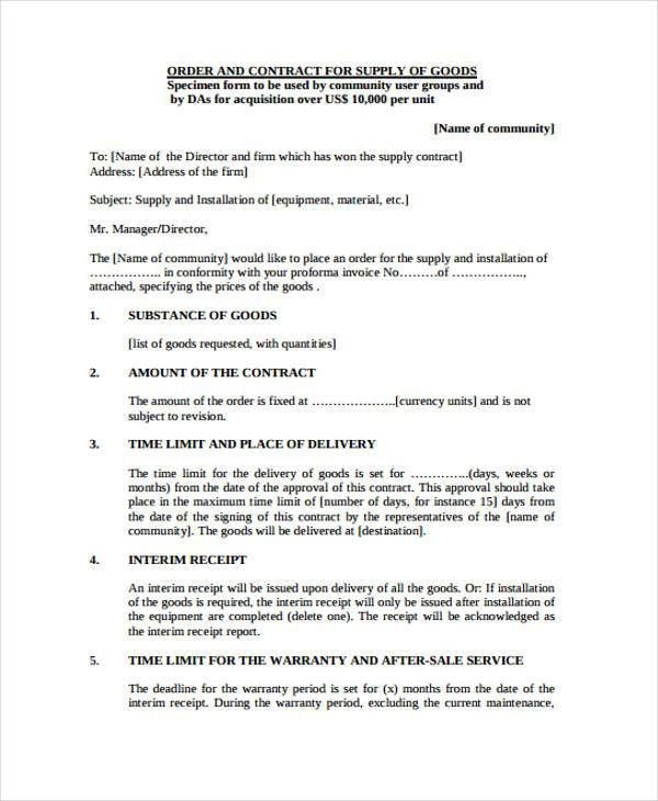 7+ Supply Contract Templates - Free Word, PDF Format Download ...