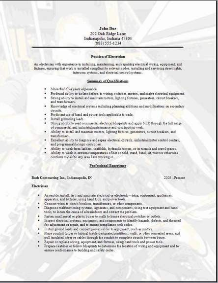 career services sample resumes. electrician resume example ...