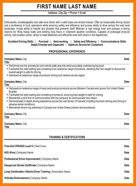 4+ sample truck driver resume | sales resumed
