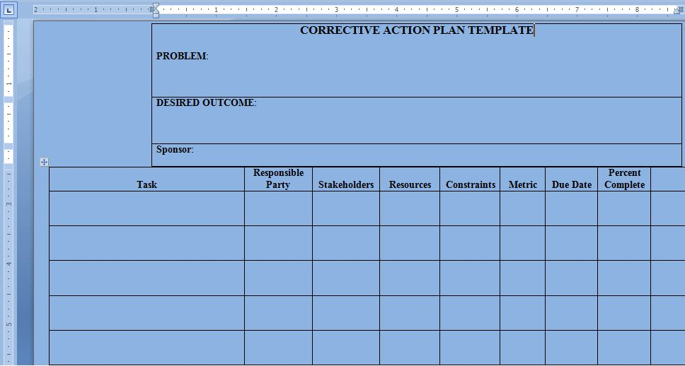 Corrective Action Plan Template Word - Project Management ...