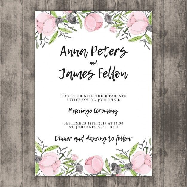 Floral wedding invitation template on wood Vector | Free Download
