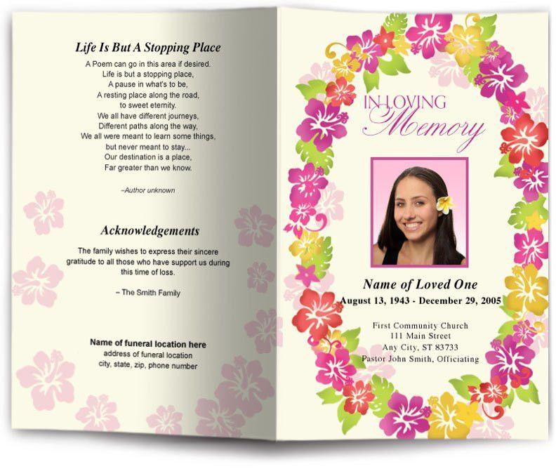 Aloha Funeral Program Template | Aloha Hawaii Funeral Programs ...
