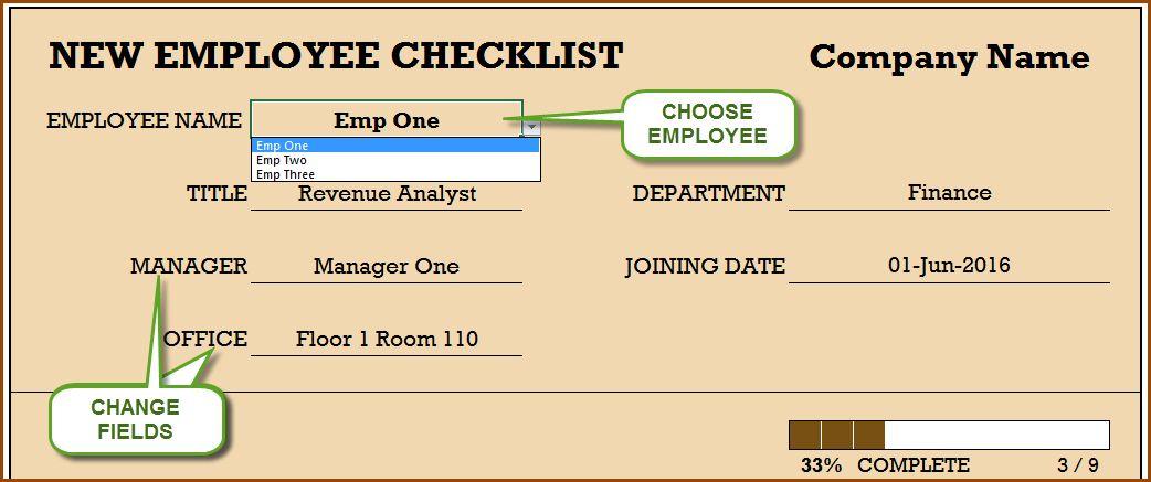 New Employee Checklist - Free Excel Template | INDZARA