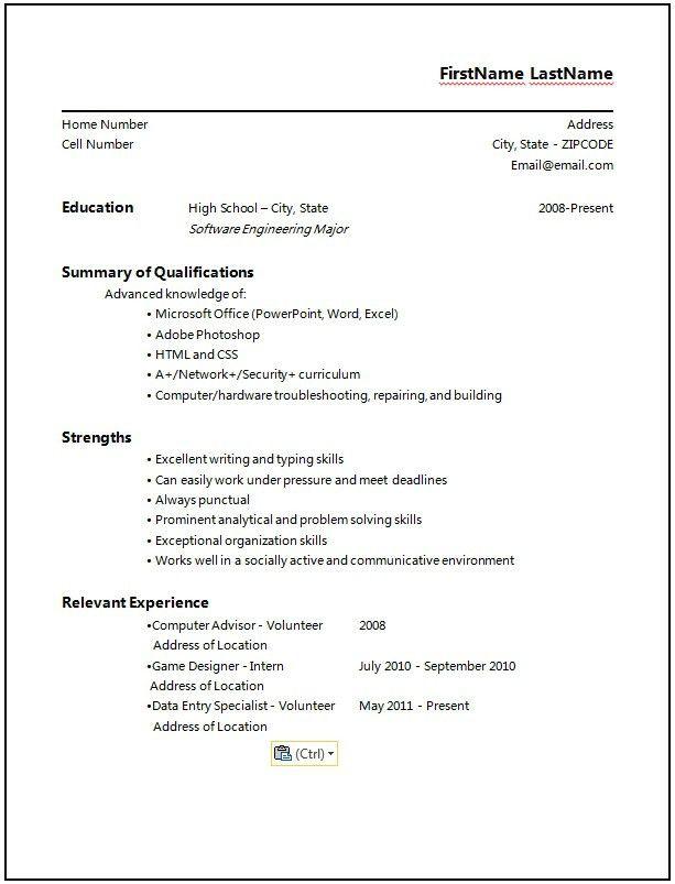 High School Senior Resume - Best Resume Collection