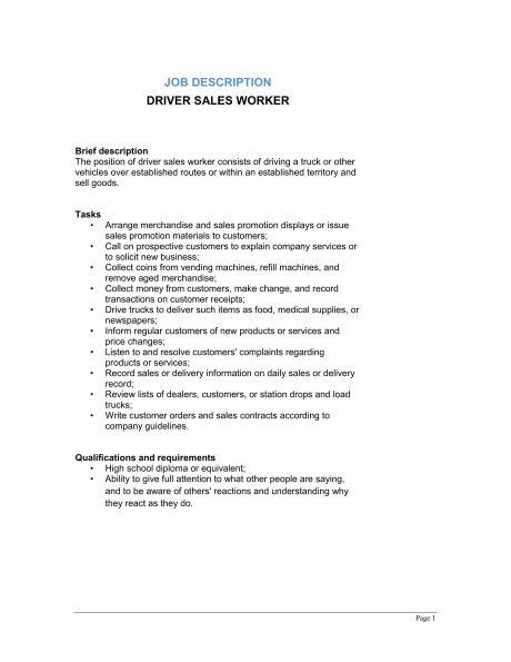 Driver Sales Worker Job Description - Template & Sample Form ...