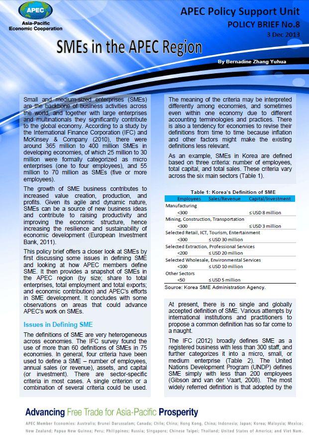 APEC Publications | SMEs in the APEC Region